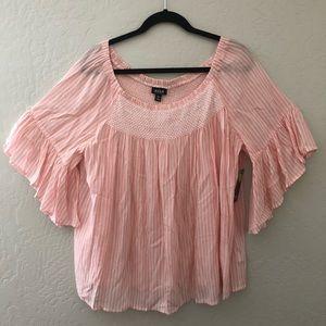 A.N.A Wide Ruffled Sleeve Soft Pink Top